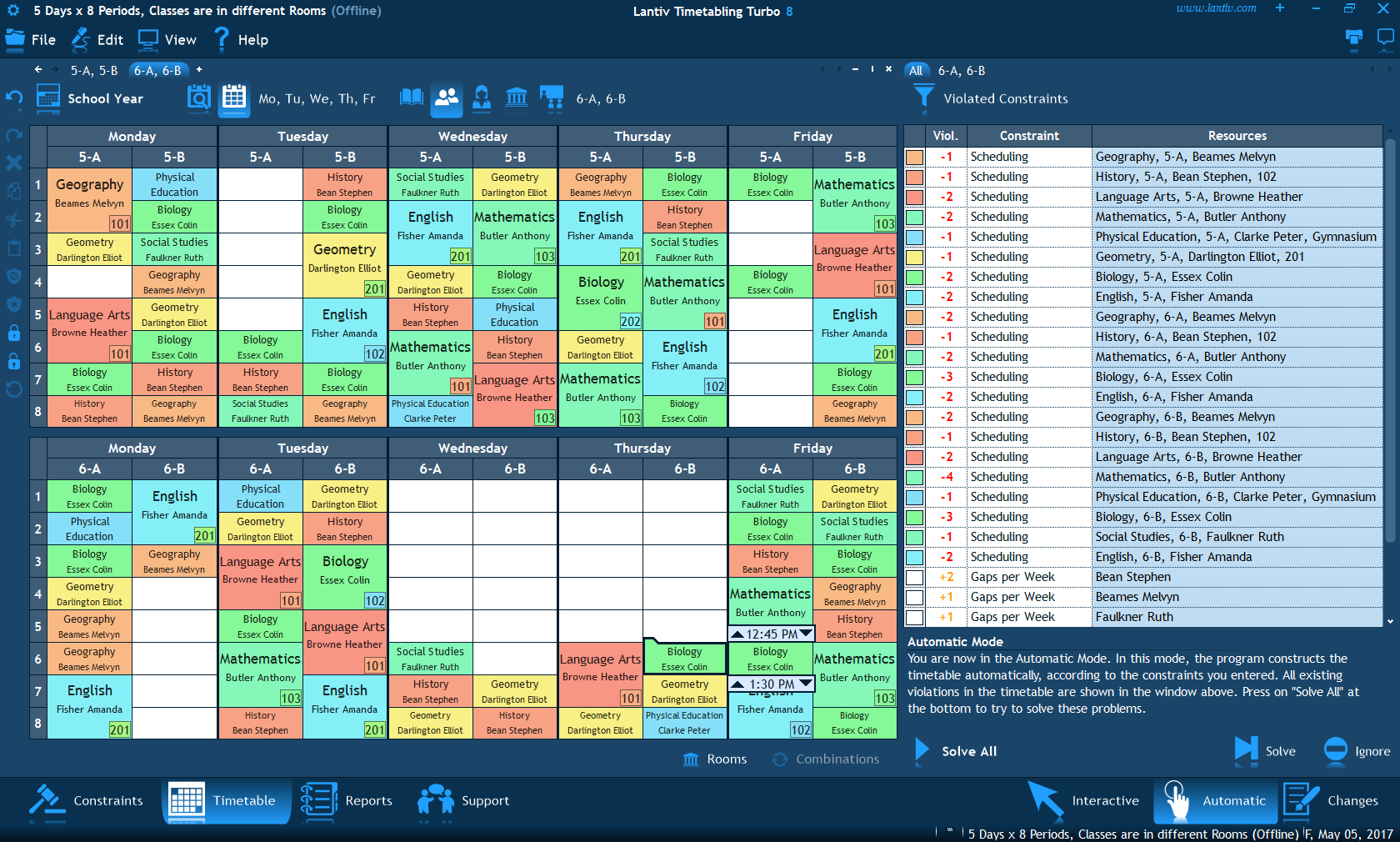 Screenshot of school timetable software. Automatic timetable construction in progress.