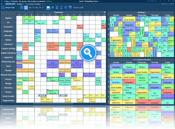 Screenshot of school scheduling software. Multiple users collaborating.