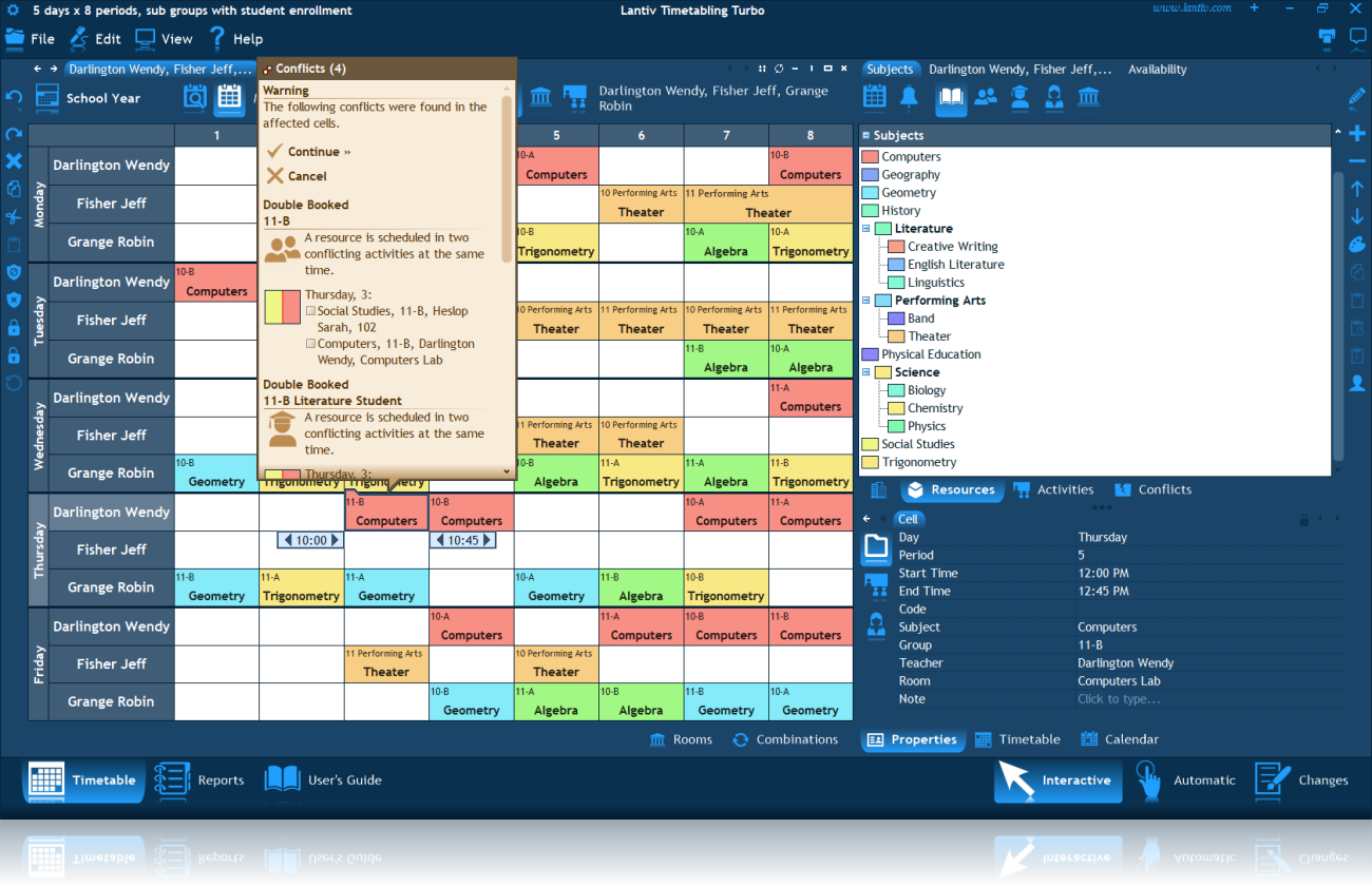 Screenshot of a conflicts window in the weekly timetable of three teachers