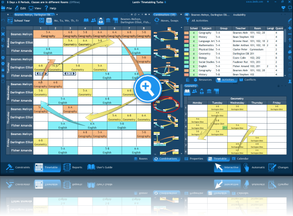Screenshot of school scheduling software. Combinations to move an activity.